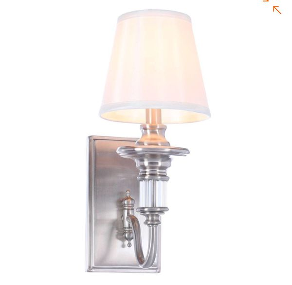 Gala 1-Light Polished Nickel Sconce with Tapered Ivory Fabric Shade