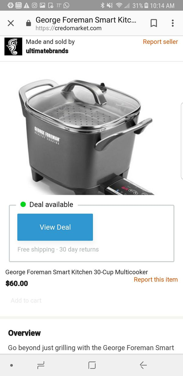 New George Foreman healthy cooking smart kitchen multicooker