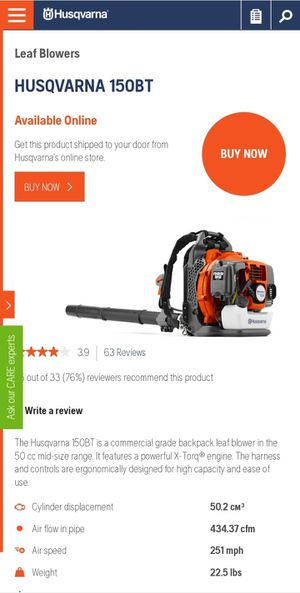 Husqvarna 150BT, 50.2cc 2-Cycle 434 CFM 251 MPH Professional 2-Cycle Gas Backpack Leaf Blower, for Sale in Bryan, TX