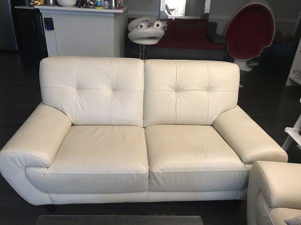 ***Cream Colored Leather Sofa & Loveseat (NEGOTIABLE)