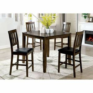 DARK WALNUT 5 PIECE COUNTER HEIGHT DINING TABLE SET for Sale in Riverside, CA