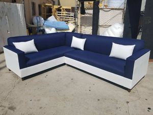 NEW 7X9FT DOMINO NAVY FABRIC COMBO SECTIONAL COUCHES for Sale in Covina, CA