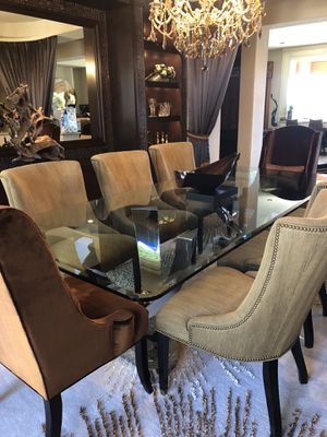 Gorgeous Custom glass dining table & 8 chairs for Sale in Las Vegas, NV