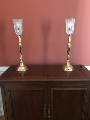 Tall Brass Lead Crystal Candelabra Lamps for Sale in Raleigh, NC
