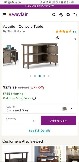 Acadian Console Table distressed gray for Sale in Fresno, CA