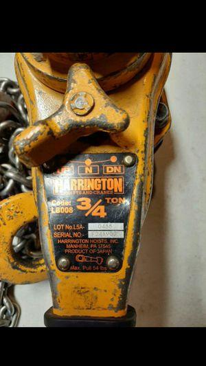 Harrington 3/4 ton chain comelong for Sale in Modesto, CA