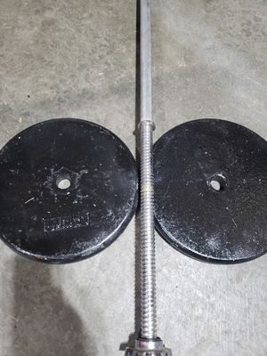 6ft spinlock bar with like new weights for Sale in Lake Stevens, WA