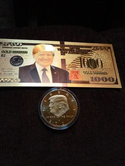 Trump 24 K Gold Foil Bill And Coin for Sale in Conroe,  TX