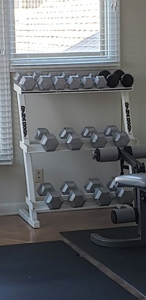 Dumbbell weight set with custom-made rack! for Sale in Knoxville, TN