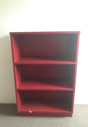 Red Painted Wood Bookshelf for Sale in Seattle, WA