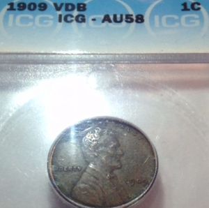 Rare Uncirculated AU58 1909 VDB Wheat Penny- ICG Professionally Graded and Certified- Scarce Key-Date! for Sale in Washington, DC
