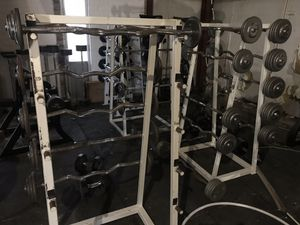 Ez curl barbells and rack 20-100 for Sale in Houston, TX