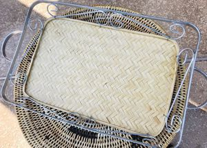 Rattan/Bamboo Serving Tray, w/ Metal Handle and Trimming for Sale in Phoenix, AZ