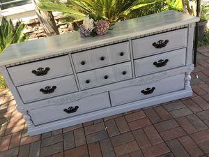 Beautiful Light Gray 8 Drawer Dresser/ Tv Stand. Aged White/Grayish Top. Epoxy aséales for Sale in Perris, CA