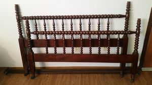 Jenny Lind Antique Spool Bed Headboard Footboard Frame Walnut Finish Furniture for Sale in Dallas, TX