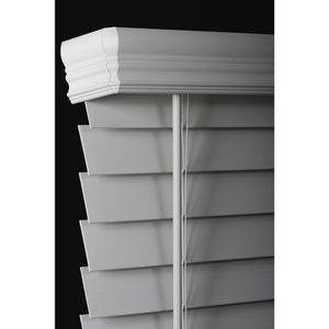 White Cordless 2-1/2 in. Premium Faux Wood Blind - 35 in. W x 64 in. L (Actual Size - 34.5 in. W x 64 L) for Sale in Winter Haven, FL