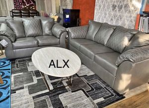 Gray leather Sofa & couch & loveseat & Living Room Set for Sale in Houston, TX