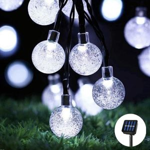 Globe Solar String Lights 30 LED 21ft 8 Mode Bubble Crystal Ball Christmas Fairy String Lights for Outdoor Xmas Landscape Garden Patio Home Holiday for Sale in Ontario, CA