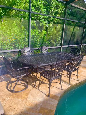 "Hanamint Cast Iron Aluminum Outdoor Dining Set including 84"" Table and Seating for six for Sale in Safety Harbor, FL"