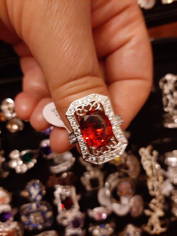 Very Nice Silver Red Rubi Ring