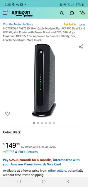 Motorola Modem with Built in Wi-Fi Router MG7550 for Sale in Seminole, FL