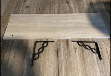 Laminated oak shelf w/ornate black brackets (new) for Sale in Tacoma,  WA