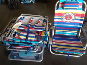 Tommy Bahama Backpack Cooler Chair w/ Pouch & Towel Bar - Red/Blue/Yellow/White Stripe for Sale in Phoenix, AZ