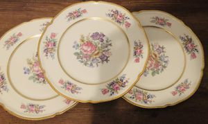 Vintage Antique Floral Castleton Rose 3 Dinner Plates China Made in USA for Sale in Houston, TX