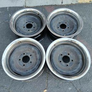 Original 5 on 5 Chevy steelies and beauty rings. 15 inch for Sale in Montebello, CA