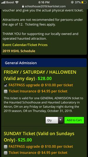 Haunted schoolhouse and laboratory fast passes for Sale in Garfield Heights, OH