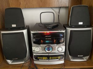 Sharp Stereo System 4 Speakers, Total 80 W. 3 CD Changer, 2 Cassette player, remote and antenna. AM/FM Radio. for Sale in Fort Lauderdale, FL