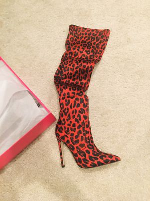 Red Leopard Print Over Knee Heels for Sale in Centreville, VA