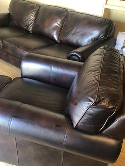 Beautiful Top Grain Leather Studded Sofa And Matching Club Chair With Ottoman for Sale in Fowler,  CA