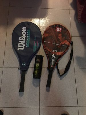 2 Wilson tennis rackets with balls for Sale in Revere, MA
