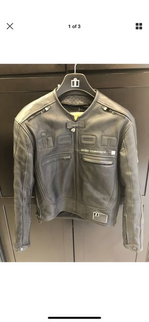 Icon motorhead leather motorcycle jacket for Sale in Byron, CA