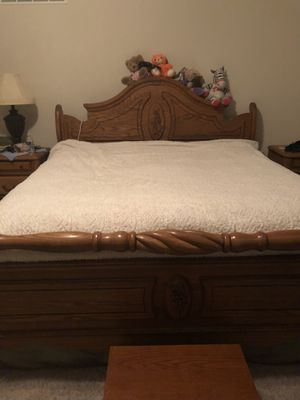 Heritage sleigh headboard and footboard. Side rails and supports from the bottom. KING size bed frame. for Sale in Smithville, MO