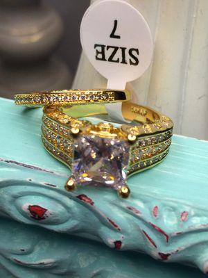 18k Gold Filled Engagement Wedding Ring 2Pcs Set Size 7 for Sale in Nashville, TN