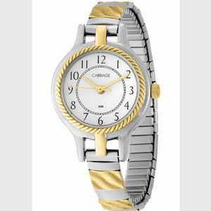 TIMEX 24.5mm CARRIAGE White Dial with Gold Hands Watch • Two Tone Gold/Silver for Sale in Beaumont, CA
