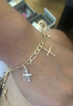 Tri tone cross charms bracelet for Sale in Seattle, WA