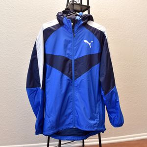 Puma Mens Size Small Blue and White Vent WindBreaker Jacket. Condition is New with tags for Sale in Los Angeles, CA