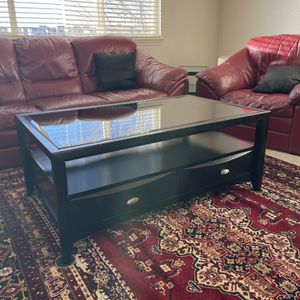 SET OF BLACK COFFEE TABLE WITH TWO SIDE TABLES for Sale in Denver, CO