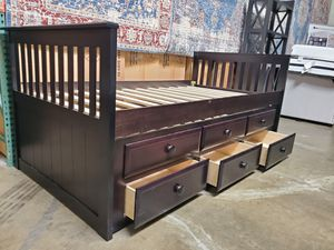 Twin Mission Style Captain Bed (Fully Slated) with Trundle and Drawers, Cappuccino for Sale in Fountain Valley, CA