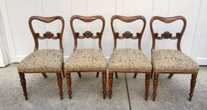 Set of 4 Comfortable Antique Solid Walnut Swiss Dining Chairs, ca.1920 for Sale in Los Altos, CA