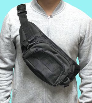 NEW! Black Tactical Military style Shoulder Bag / Waist Pack not supreme fanny pack cross body bag travel bag side bag sling pouch for Sale in Los Angeles, CA