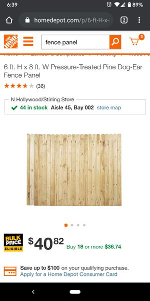 6 ft. H x 8 ft. W Pressure-Treated Pine Dog-Ear Fence Panel for Sale in Hollywood, FL