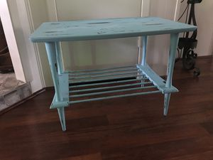 Vintage Modern Retro Wood Spindle Shelf Turquoise Teal Blue Distressed Paint TV Stand Small Accent End Storage Bed Side Table for Sale in Houston, TX