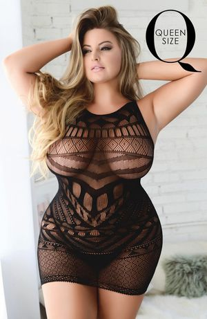 Fishnet Body Suit Dress One Size Queen Black for Sale in Kansas City, MO