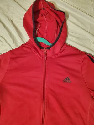 ADIDAS HOODIE RED WITH BLACK STRIPES WOMEN'S SIZE XL for Sale in Croydon, PA