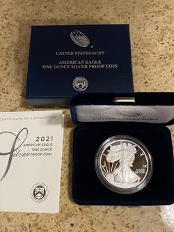 2021-W One Ounce Silver PROOF American Eagle w/ Box & COA for Sale in Seattle,  WA