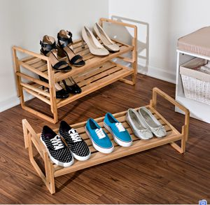 New Bamboo Wood Storage Stackable Durable 3-Tier Closet Room Organizer Shoe Rack Furniture for Sale in Cypress, TX